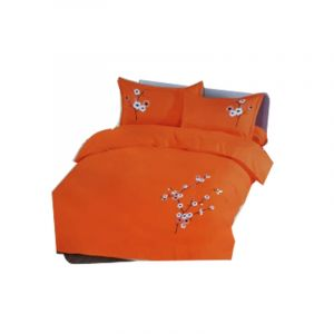 Drap de Lit - Amy - 4 pièces- Cotton-Broderie- 3 Places- Orange