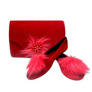 Ballerines + Sac Assorti En Daim - Rouge