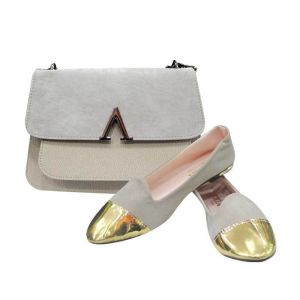 Ballerines + Sac Assorti En Daim - Gris Et Or