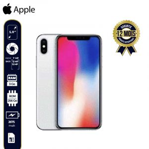 Apple Iphone X (256Go, 3GB Ram, 4G Lte)-12 Mois-Argent | Glotelho Cameroun