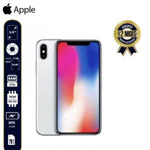 Apple Iphone X (64Go, 3GB Ram, 4G Lte)-12 Mois-Argent | Glotelho Cameroun