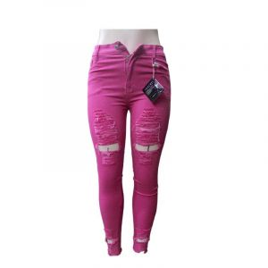 Pantalon Jean Destroy - Rose