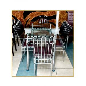 Salle a manger - 6 places - table en Verre - chaise en fer -  Marron | Glotelho Cameroun