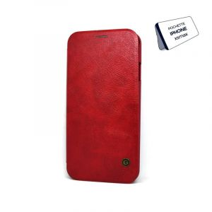 POCHETTE SMARTPHONE IPHONE XSMAX -Silicon simili cuir rouge flip cover