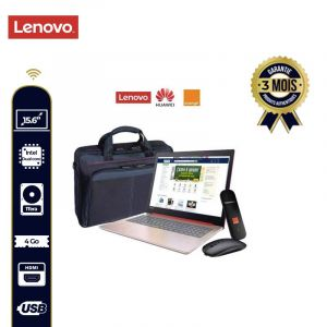 Pack Etudiant - Laptop Lenovo Ideapad 330 + Internet Dongle + Sac laptop + Souris sans fil HP| Glotelho