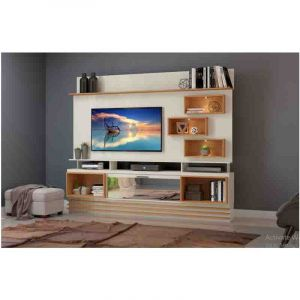 Meuble TV -  MT-Meuble Télé HOME CINEMA MT-TB177E -  L. 220 x H. 187 x P. 35 cm - Blanc /OR|Glotelho