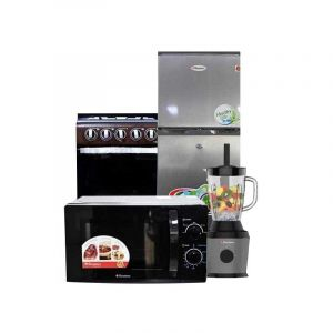 Pack Electro Complet -  Refrigerateur + Mixeur + Cuisiniere + Micro-onde |Glotelho Cameroun