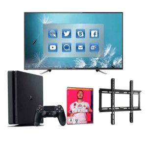 Gaming complet - Smart TV + PS4 + FIFA 2020 + Accroche Murale /Glotelho