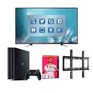 Gaming complet Pro - Smart TV + PS4 + FIFA 2020 + Accroche Murale
