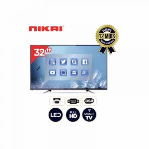 Smart TV - Nikai - NTV3200SLEDT2 - 32'' LED TV   - Noir - 12 mois|GlotelhoCameroun